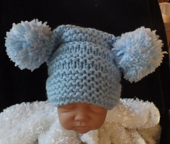 Knitting Pattern Baby Hat 12 Months : Knitting pattern for baby pom pom hat easy knit size ...