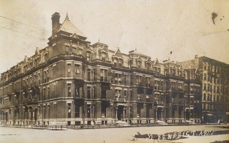 St. Benedict's Apartments (aka Hotel St. Benedict Flats), Chicago Ave at Wabash, 1901, Chicago. One of my favorite blocks in the city  SEE WHAT THEY LOOK LIKE NOW! CALUMET 412