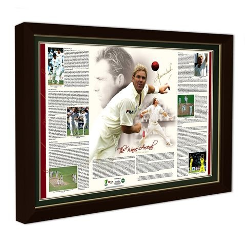 Limited Edition of 500 · Personally signed by Shane Warne · Officially licensed by Cricket Australia · Authenticated and certified by PricewaterhouseCoopers - with certificate · Magnificently presented at a generous framed size of approx 850mm x 600mm · Features an in-depth interpretation of Shane's bowling actions, compiled by Ashley Mallett