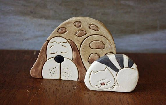 Handmade ceramic object Pottery ceramic art Cat dog ceramic