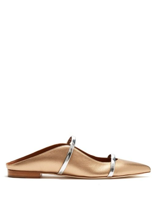 MALONE SOULIERS Maureen Backless Leather Flats. #malonesouliers #shoes #flats