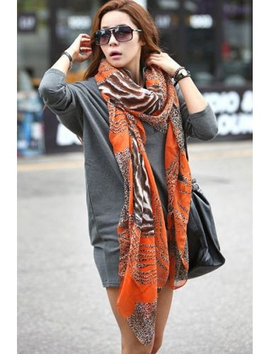 Orange Zebra or Leopard Printing Long Scarf | Scarf | Accesories | StringsAndMe