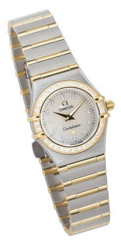 Blending refined European design with glittery diamond-accented style, this Omega Constellation womens watch offers graceful lines and a slender width for even the more delicate of wrists. The silver stainless steel bracelet band flows seamlessly from the case and is slightly tapered. Its accented by thin horizontal bands of 18 karat gold that separate the silver links and stretch fully across the width of the band. The shimmery white mother-of-pearl white dial background also includes…