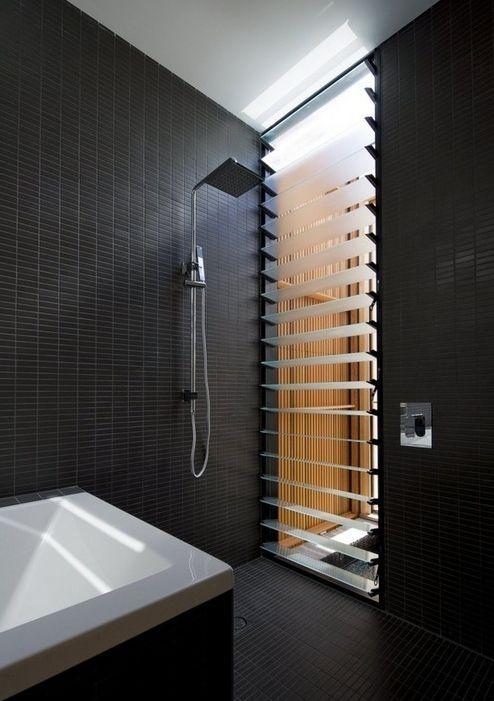 Matte black tiles bathroom pinterest for Matte bathroom tiles