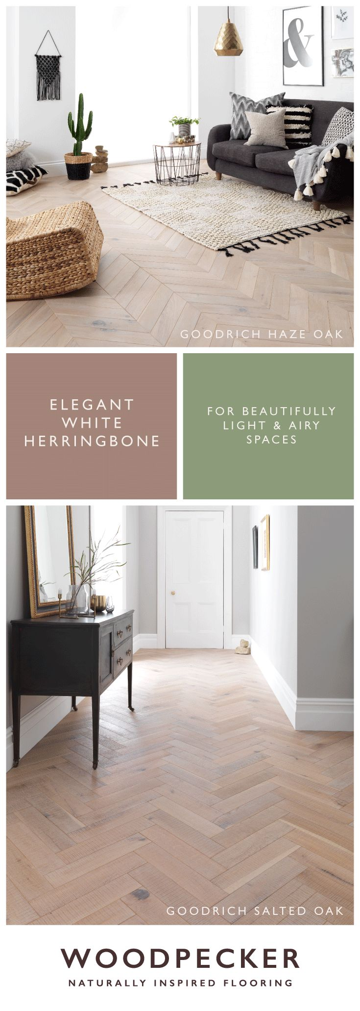 Elegant white herringbone flooring for beautifully light and airy spaces. Discover your favourite with free samples from our website.