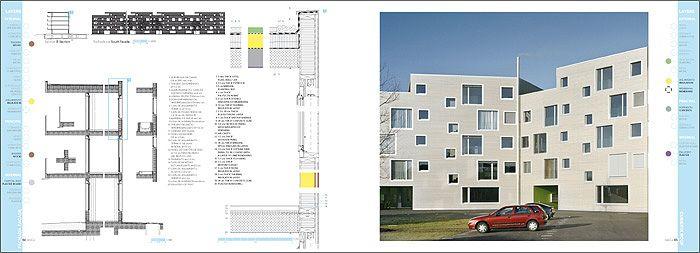 Construction details. Frei Architekten. Rohr. Switzerland  #housing #vivienda DENSITY SERIES Published in HoCo Density Housing Construction and Costs http://aplust.net/tienda/libros/Serie%20Densidad/HoCo%20%28Density%20Series%29/