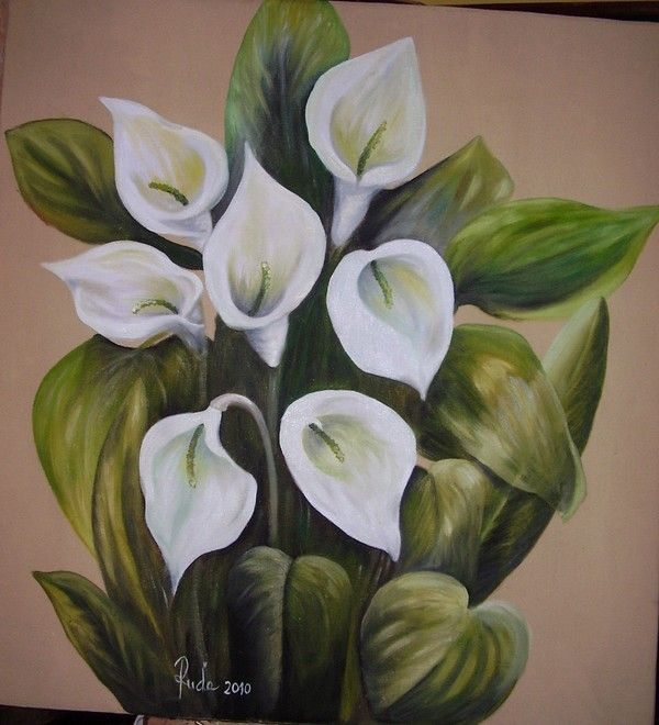 Art flowers /kala/ - oil painting canvas