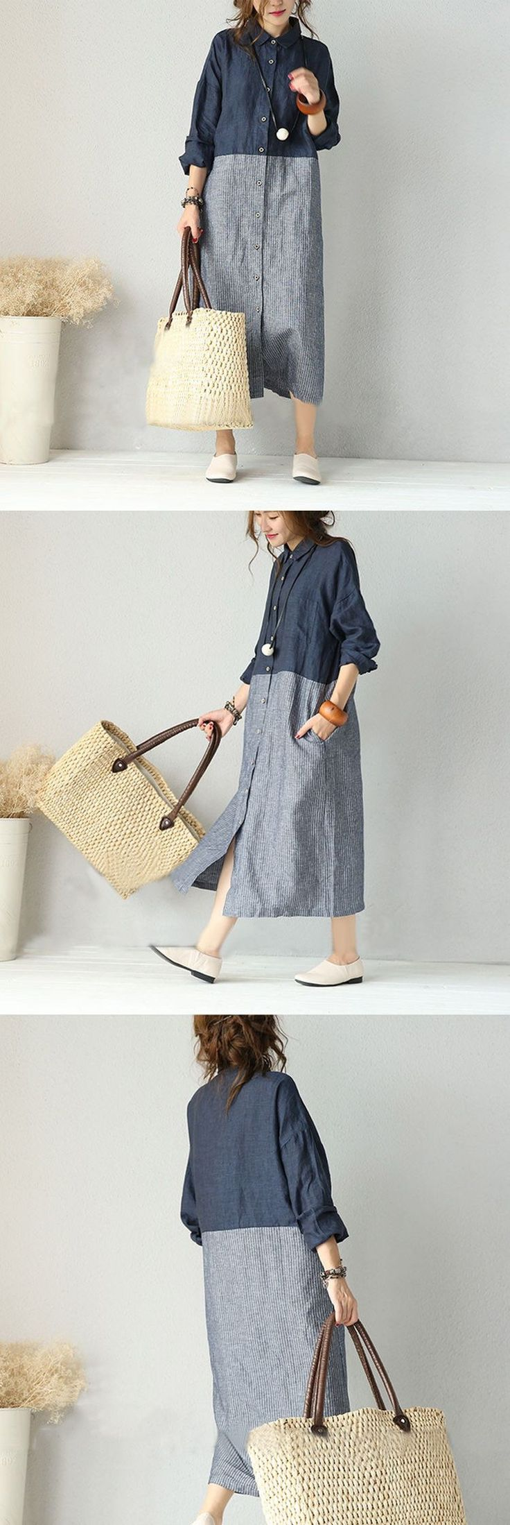 Fabric: Fabric has some stretch Season: Autumn, Spring, Winter Type: Shirt Dress Pattern Type: Plain Sleeve Length: Long Sleeve Color: Gray blue Dress Dresses Length: Maxi Style: Casual Silhouette: Dr