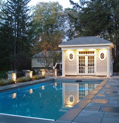 Pool House: Small Porches, Landscape Architects, Boston, Changing Rooms, Oval Windows, Pools House, Simple Pools, In My Dream, Photo