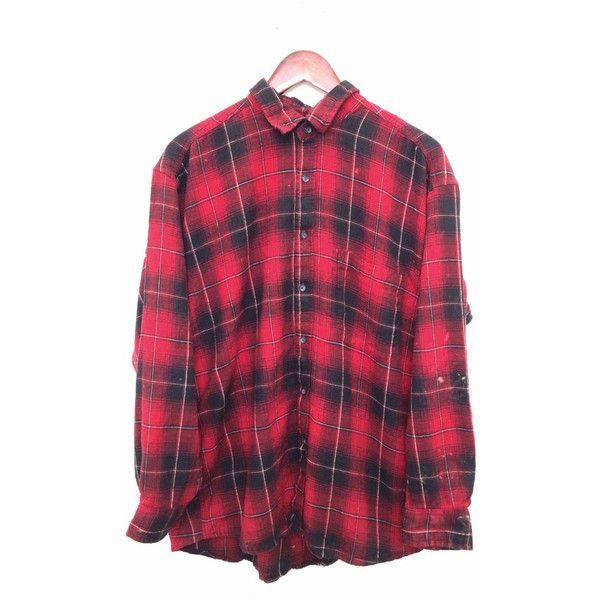 "Bleached Flannel Shirt ""BAD"" in Red Black Plaid ($69) ❤ liked on Polyvore featuring tops, flannels, shirts, black plaid shirt, plaid top, red top, vintage tops and red flannel shirt"