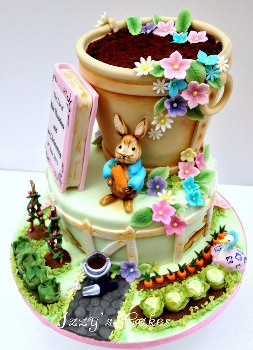 Beatrix Potter inspired christening cake by Izzy's Cakes (6/8/2013) View details here: http://cakesdecor.com/cakes/66819