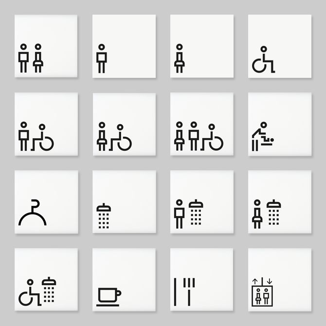 Architectural signs incorporating the Lisbon range of pictograms by Marca…
