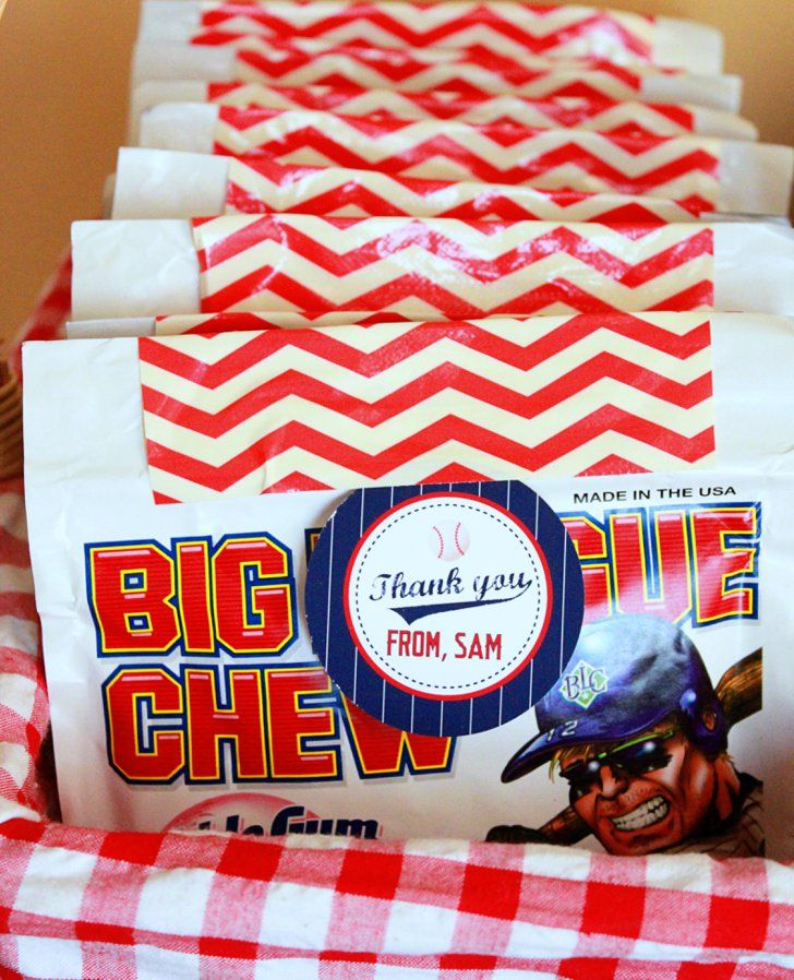 Pin for Later: A Grand Slam of a Seventh Birthday Bash Big (Chew) Thanks Guests were gifted with Cracker Jacks and Big League Chew — the perfect baseball treats.