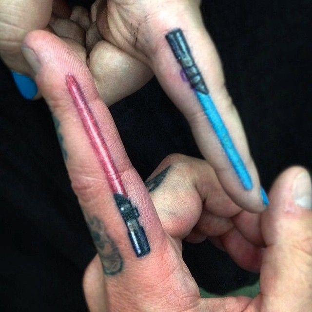 Lightsaber finger tattoos by Alonzo Villa-Bearcat Tattoo Gallery-Little Italy-San Diego, CA
