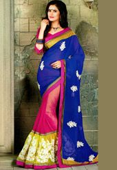 Blue, Fuchsia and Green Faux Georgette Lehenga Style Saree with Blouse