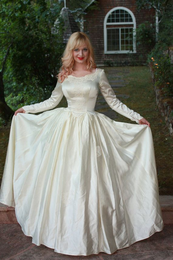 Vintage 1950s silk satin wedding dress princess ball gown for Silk wedding dresses with sleeves