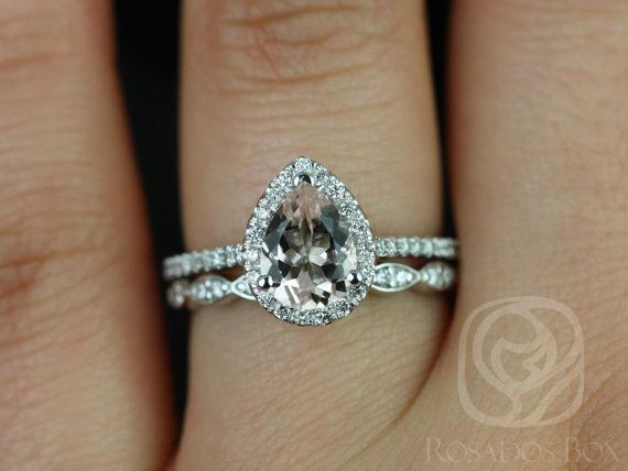 Tabitha 8x6mm and Christie Band 14kt White Gold Pear Morganite and Diamonds Halo Wedding Set (Other metals and stone options available)