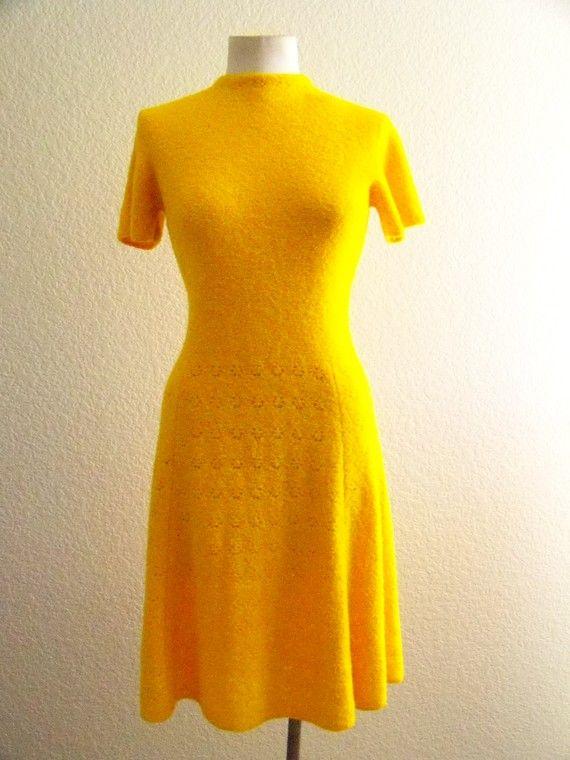 vintage 60s ST JOHN KNIT  soft acrylic  yellow by foxybyproxy, $85.00