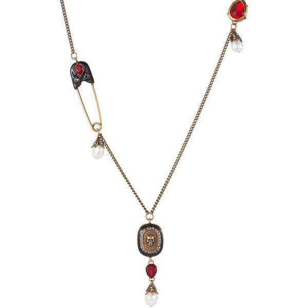 Alexander McQueen Embellished Necklace ($1,075) ❤ liked on Polyvore featuring jewelry, necklaces, multicolored, multi color necklace, multi coloured necklace, simulated pearl necklace, colorful necklaces and safety pin jewelry