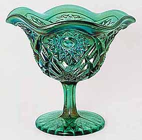 Emerald green carnival glass.  Hobstar and Flower compote - Imperial Glass Co.