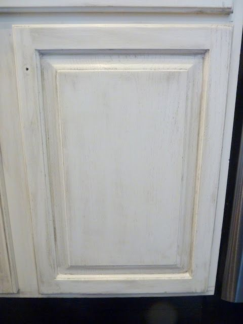 How to: distressed white kitchen cabinets