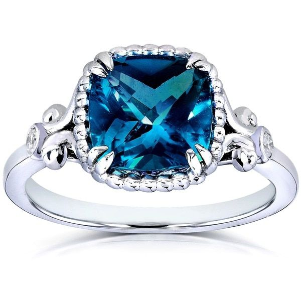 Angara Cushion London Blue Topaz Ring with Cluster Diamond Accents I8jxicFt