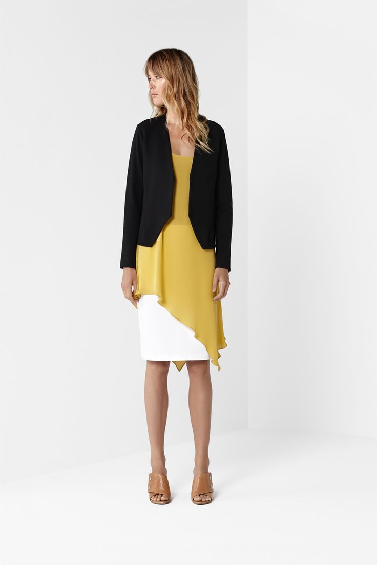 Black Slice Jacket Gold Asymmetric Tunic White Mid Skirt