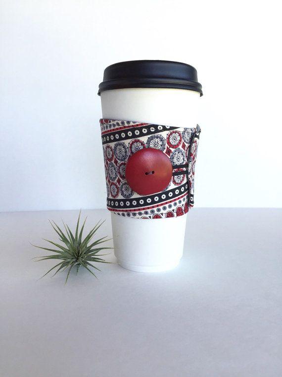 Boho Eclectic Coffee Sleeve Boho Reusable by SandHollowTrading
