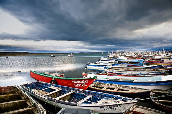 Boats - Punta Arenas, Chile.  Now on sale on Etsy!
