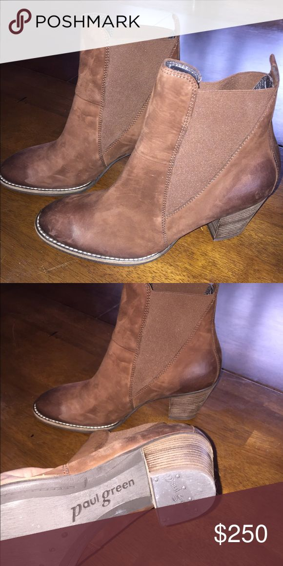 Paul Green Brown Leather Boots You have got to feel these! Super comfy and quality and wonderful and just like new! Brown leather, stretch pull on boots. Size 5 in Paul green which is equal to a 7.5 in the USA. Paul Green Shoes Heeled Boots