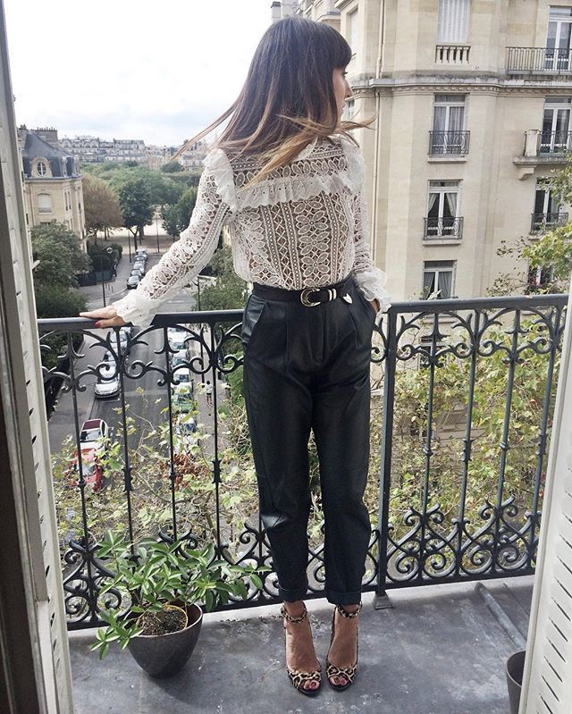 Leopard & Leather & Lace ruffled shirt credit katherine_ormerod insta