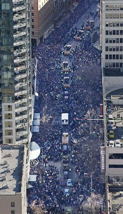 Seattle Seahawks Super Bowl XLVIII victory parade.. Over 700,000 people in the streets of Seattle!