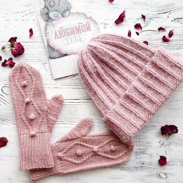 WEBSTA @ luanaanohina - ❗️В наличии❗️Теплый комплект цвета пыльной розы. Удлиненная шапочка и варежкиСостав:шерсть/вискоза/альпакаРазмер шапки на ОГ 53-56 смЦена 3000 рОтправлю почтой