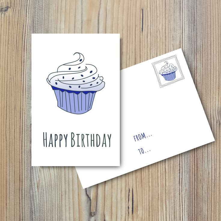 "Birthday Card: ""Happy Birthday Card"" Instant Download, Digital Card, Blue & Grey, Printable, Diy, Blu e Grigio di MyRpaper su Etsy"