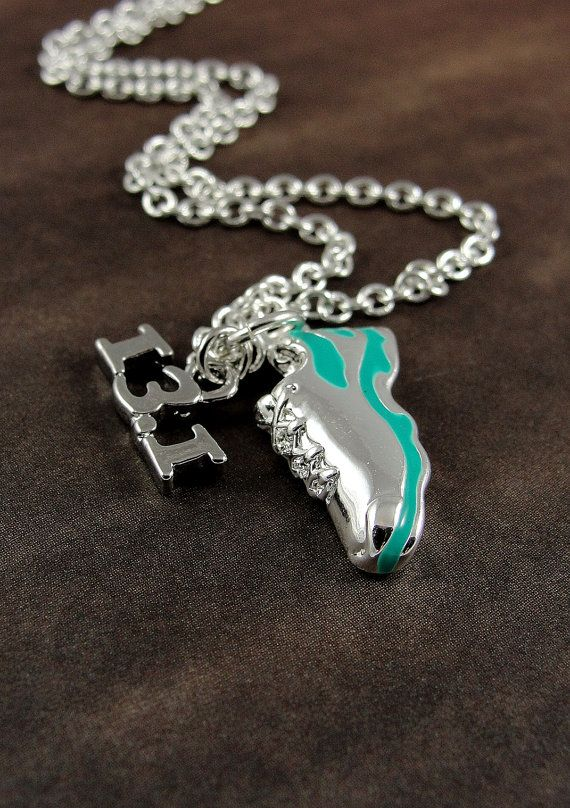 Half Marathon Running Shoe Necklace Silver by treasuredcharms, $12.00 ~ need this when I get to half marathon length in my run!