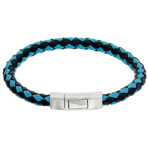 Tateossian Tateossian Silver & Leather Bracelet   Bluefly.Com (8.270 RUB) ❤ liked on Polyvore featuring men's fashion, men's jewelry, men's bracelets, black multi, mens leather and silver bracelets, mens leather bracelets, mens cord bracelets and mens sil