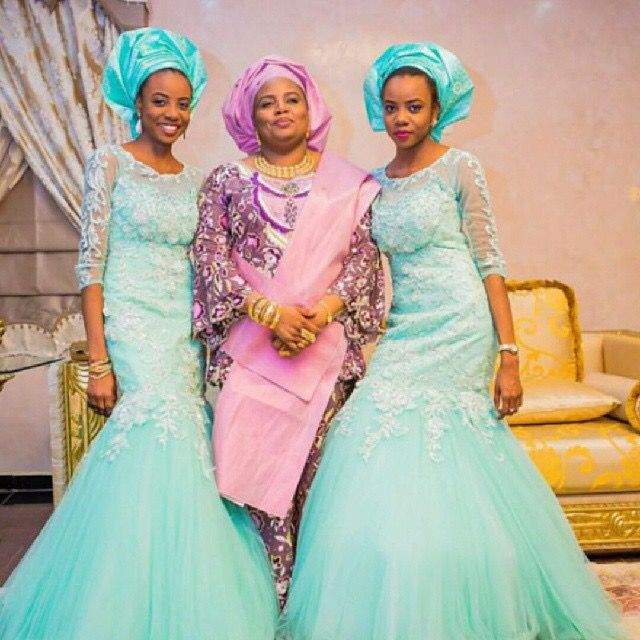Nigerian wedding mint green ore-iyawo aso-ebi color combination
