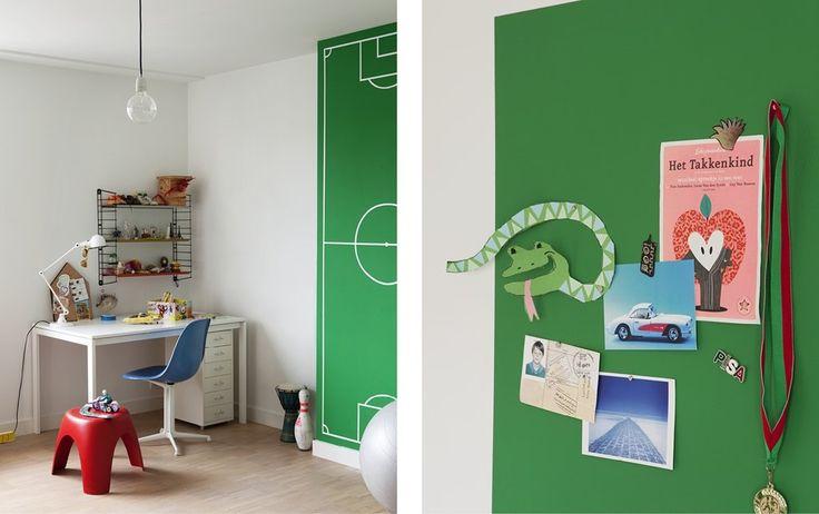 Een muur in magneetverf - groene kinderkamer