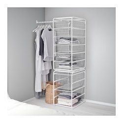IKEA - ALGOT, Frame/wire baskets/rod, The parts in the ALGOT series can be combined in many different ways and easily adapted to your needs and space.When you complete your ALGOT frame with baskets from the same series you have a smart storage solution that fits anywhere in your home.Can also be used in bathrooms and other damp indoor areas.Also stands steady on an uneven floor since the feet can be adjusted.The basket glides smoothly and has a pull-out stop to keep it in place.