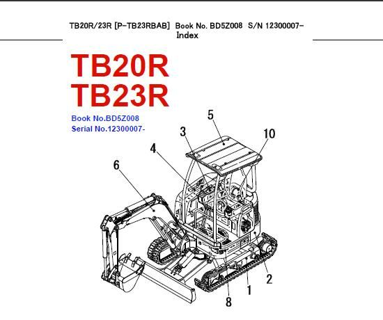 Takeuchi TB20R , TB23R Mini Excavator Parts Manual (Serial