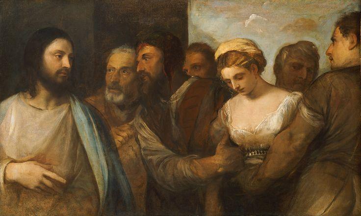 Christ and the Adulteress / Cristo y la adúltera // ca. 1520 // Tiziano Vecellio (Tizian) // Kunsthistorisches Museum // #Jesus