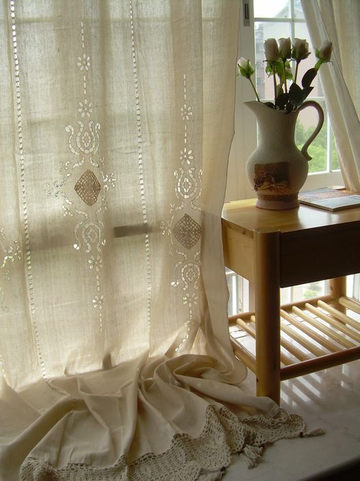 2 x Tab Top French Country Cotton Linen Crochet Lace Curtain Panel 001