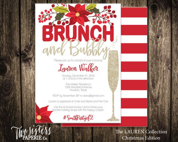 Christmas Bridal Shower Invitation - Christmas Brunch and Bubbly - Christmas Bridal Brunch - Printable Invitation - $15