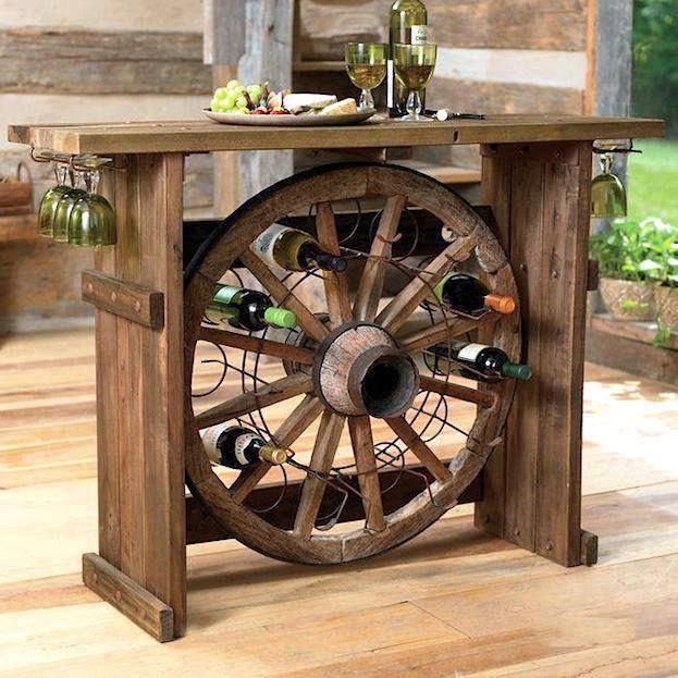 Cart wheel wine rack