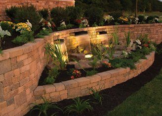 Two level retaining wall; love the lighting too