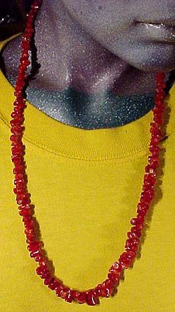 Deep Red Branch Coral 24-3/4 Necklace 14k Yellow Gold
