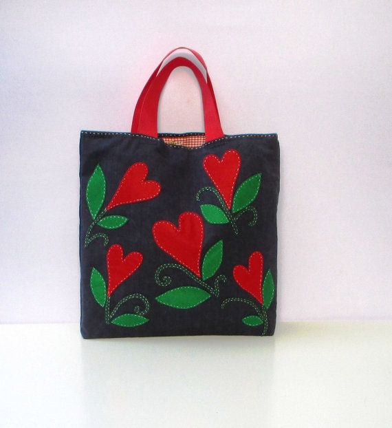 Denim tote handbag appliqued with red hearts handmade by Apopsis