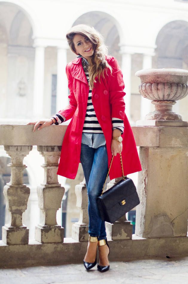 chambray shirt, striped sweater, destroyed denim, heels & red coat