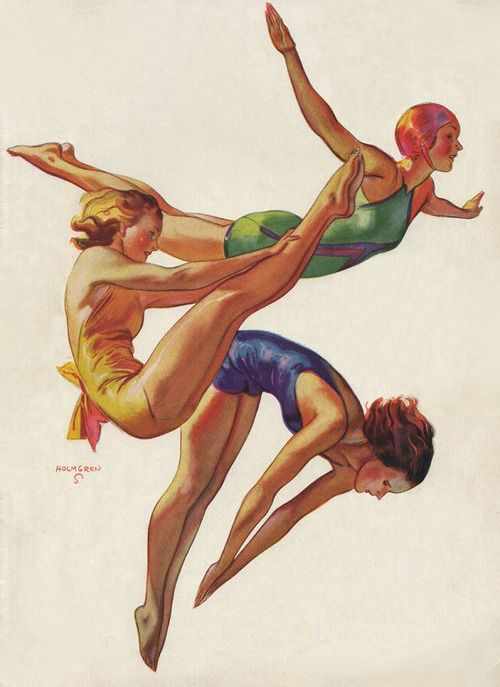 Vintage swimsuit illustration • three women diving • John Holmgren 1934