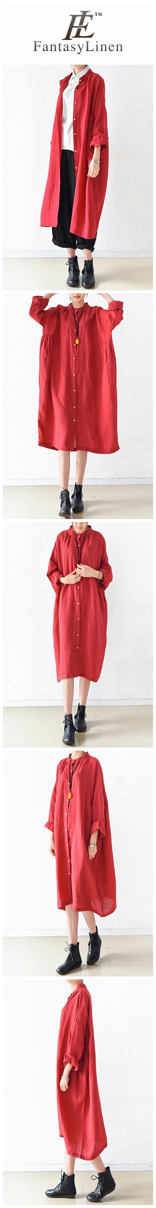 Red Women Loose Fitting Gown Single Breasted Large Size Maxi Dress Long Shirt Dress Q0805  Q0805Red